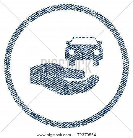 Car Gift Hand textured icon for overlay watermark stamps. Blue jeans fabric vectorized texture. Rounded flat vector symbol with scratched design.