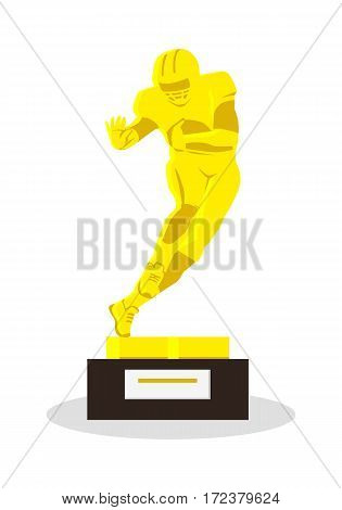 Heisman Memorial Trophy. Gold reward for football achievements. American football player in uniform. Gold football equipment. Sport team game. Cartoon icon of football player. Sportsman. Vector