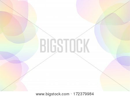 rainbow petal abstract background, floral collage frame wallpaper, soft curve transparent template, vector illustration