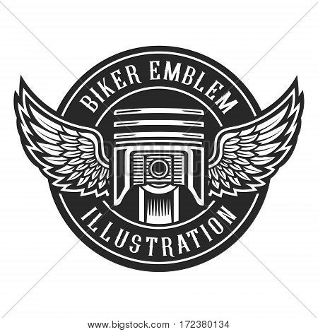 Vintage bikes emblem piston with wings on white background.