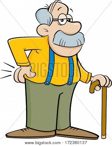 Cartoon illustration of an old man leaning on a cane.