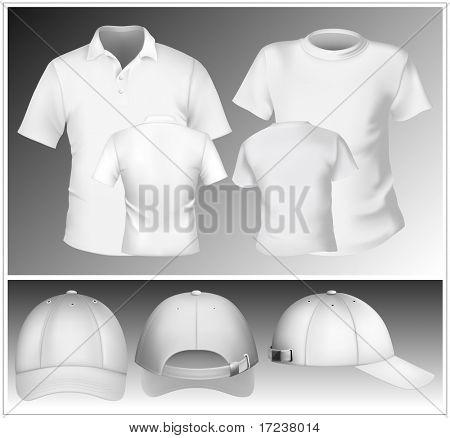Vector. Men's polo shirt and t-shirt design template and baseball cap.