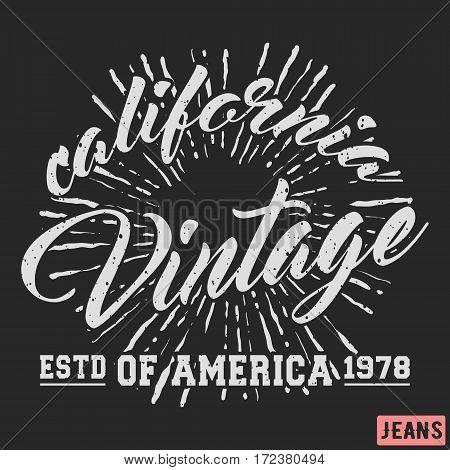 T-shirt print design. California sun vintage stamp. Printing and badge applique label t-shirts jeans casual wear. Vector illustration.