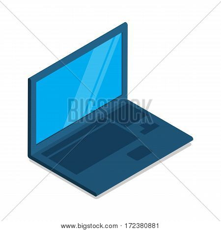 Laptop flat icon with blank blue screen. Laptop in side view. Concept of IT communication, e-learning, internet network. Isolated object on white. Device for registration restaurant orders. Vector