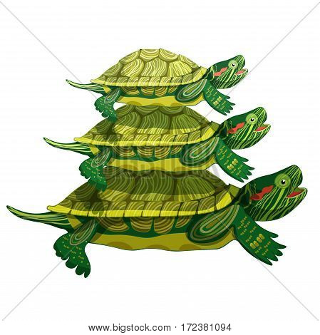 Pond Slider Microcosm Of The World Three Turtle Green Smiling Vector Illustration
