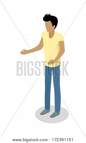 Street food buyer isolated. Man in casual cloth with stretched hands Cartoon character makes an order Concept illustration for street food consumption. Quick snack. Fast food. Vector in flat design