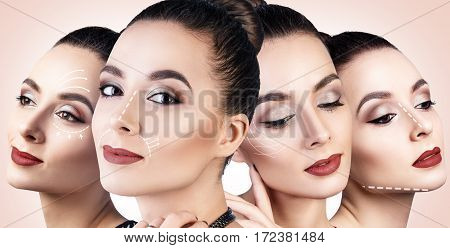 Collage of sensual woman with perfect make-up over beige background