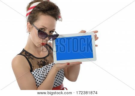 beautiful woman in retro style holding tablet computer