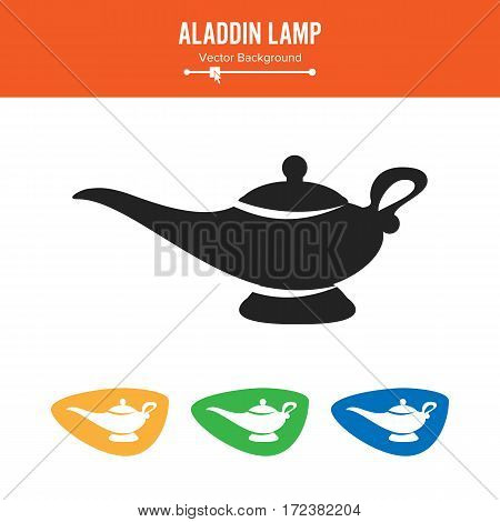 Aladdin Lamp Vector. Simple Black Silhouette Symbol On White Background.