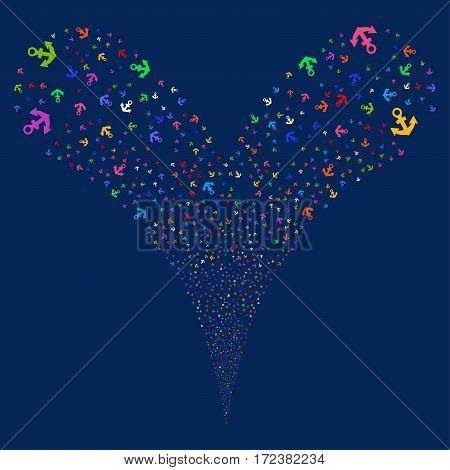 Anchor fireworks stream. Vector illustration style is flat bright multicolored iconic symbols on a blue background. Object double fountain combined from random pictographs.