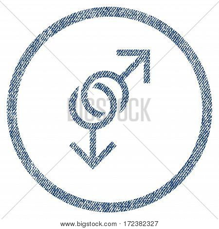 Gay Love Symbol textured icon for overlay watermark stamps. Blue jeans fabric vectorized texture. Rounded flat vector symbol with dust design.