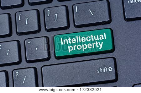 Intellectual property on computer keyboard button closeup