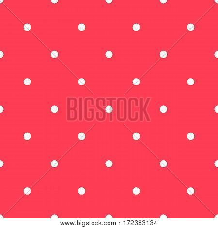 Polka dot pattern. Retro vector seamless background with white rounds on red