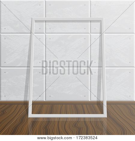 Vector empty blank white realistic mock up frame. Modern high tech interior. Concrete wall and wood floor. Frame on wall for your images and illustrations.