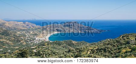 the southern coast of Crete view of the coast from the mountain