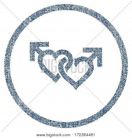Linked Gay Hearts textured icon for overlay watermark stamps. Blue jeans fabric vectorized texture. Rounded flat vector symbol with scratched design.