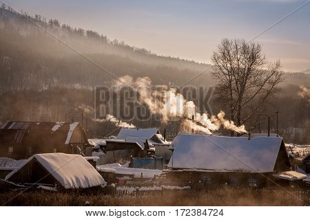 frosty morning in Russian village. South Ural.