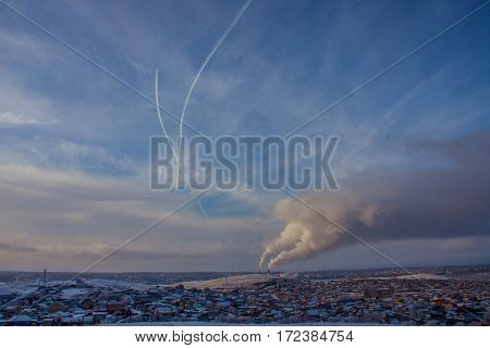 fine day in Magnitogorsk. South Ural. Russia.