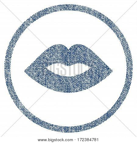 Lips textured icon for overlay watermark stamps. Blue jeans fabric vectorized texture. Rounded flat vector symbol with unclean design. Circled blue ink rubber seal stamp with fiber textile structure.