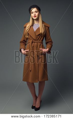 Spring French Look. Sweet Romantic Gir. Stylish Brown Coat.