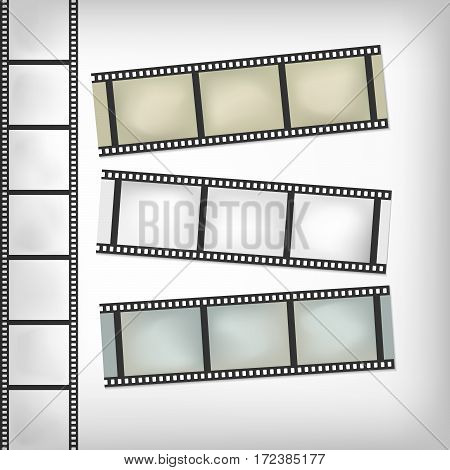 Vintage film or camera strip on horizontal and vertical position.