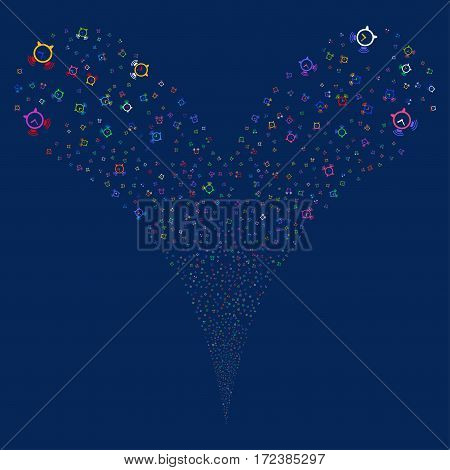 Buzzer fireworks stream. Vector illustration style is flat bright multicolored iconic symbols on a blue background. Object double fountain combined from random pictographs.