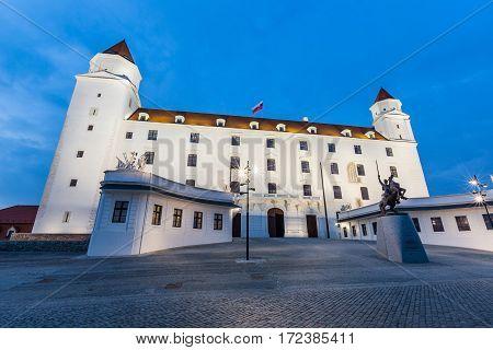 Famous Bratislava Castle at Twilight, long exposure