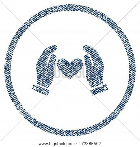 Love Heart Care Hands textured icon for overlay watermark stamps. Blue jeans fabric vectorized texture. Rounded flat vector symbol with unclean design.