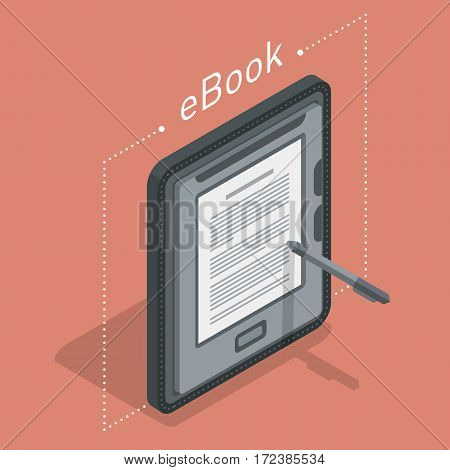 Electronic reader book cover. New 3d colorful icon. Mobile tablet device. Modern gadget. Isometric flat badge. Education symbol logo. Illustration vector art.
