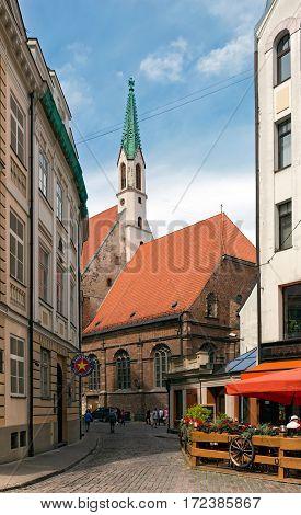 RIGA/ LATVIA - JULY 25. Old Evangelical Lutheran Church of St. John om July 25, 2015. Riga, Latvia.