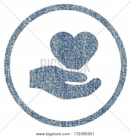 Love Heart Offer Hand textured icon for overlay watermark stamps. Blue jeans fabric vectorized texture. Rounded flat vector symbol with dust design.