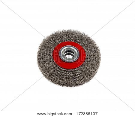 circular wire brush on workbench close up