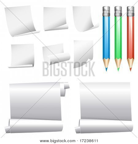 Vector collection of various white note papers