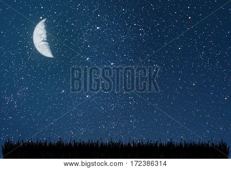 background night sky with stars. grass. Elements of this image furnished by NASA