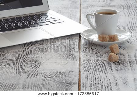 Workplace With Laptop And Coffeecup On White