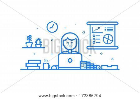 Illustration of blue icon in flat line style. Linear cute and happy girl. Graphic design concept of woman financial accountant use in Web Project and Applications Outline isolated object.
