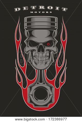 Skull piston with classic american flames on black background.