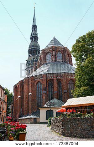 RIGA/ LATVIA - JULY 25. St. Peter's Church on July 25, 2015 in Riga, Latvia.