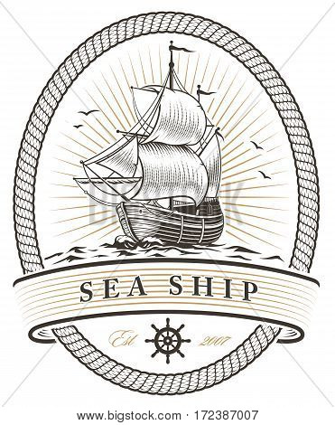 Vintage sea ship emblem on white background.