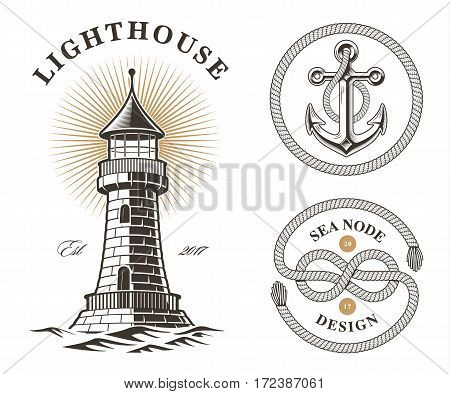 Set of vintage sea elements, lighthouse, anchor and knot on white background.