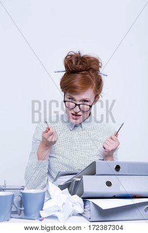 Disgruntled Worker Behind The Desk