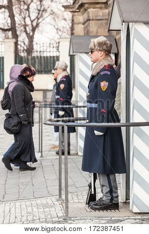 Prague, Czech Republic - March 15: Guards At Prague Castle On March 15, 2013 In Prague, Czech Republ