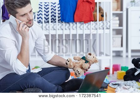 Businessman Father Talking On Phone