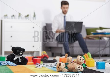 Businessman Father With Laptop