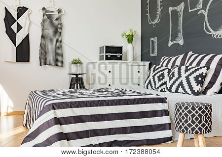 Black And White King-size Bed