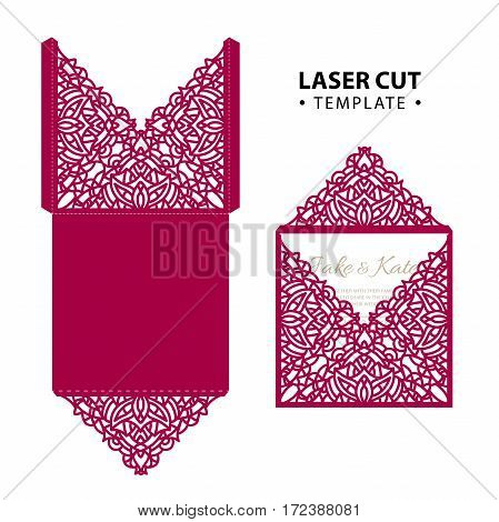Laser cut vector envelope card temlate with abstract ornament. Cutout pattern silhouette. Die cut paper element for wedding invitations, save the date, greeting card. Cutting panel