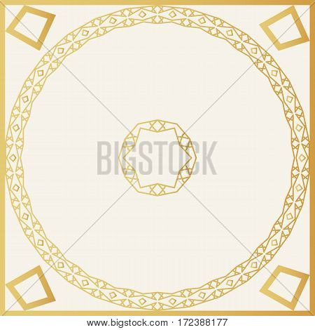 Golden Decorative Frame. Vector Design Template. Creative Luxury Background.
