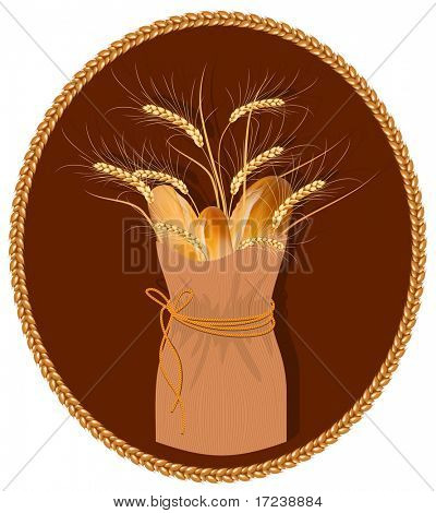 Vector frame. Paper bag with bread and wheat.