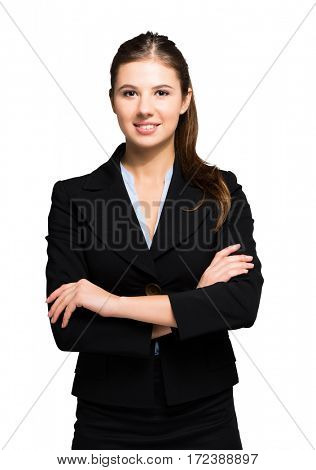 Portrait of a young businesswoman with crossed arms. Isolated on a white background