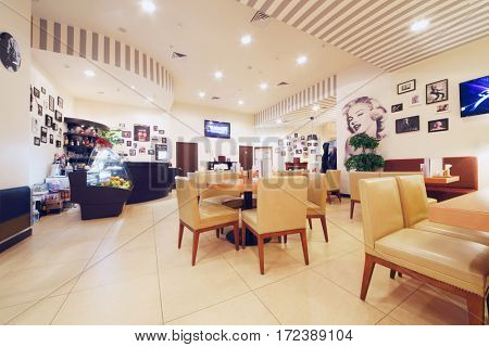 MOSCOW - OCT 9, 2016: Empty cafeteria during All hits of Humor concert in Crocus City Hall